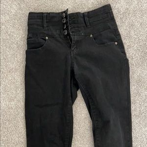 5 button high waisted black skinny jeans